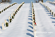65095-03114 Wreaths on graves in winter Jefferson Barracks National Cemetery St. Louis,  MO