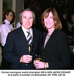 Former racingcar world champion MR & MRS JACKIE STEWART at a party in London on December 4th 1996.<br /> LUF 26