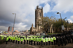 © Licensed to London News Pictures. 04/10/2012. Manchester, UK . The hearse leaves the cathedral . 100s of police in Manchester city centre for the funeral of PC Fiona Bone at Manchester Cathedral . Bone was murdered in a gun and grenade attack alongside PC Nicola Hughes when responding to a suspected burglary at a house in Hattersley in Tameside on 18th September . Dale Cregan is currently on remand , accused of the two murders . Photo credit : Joel Goodman/LNP