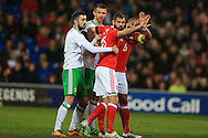 Ashley Williams  (6) and Joe Ledley of Wales get involved with some pushing and shoving as they wait for a corner to be taken. .Wales v Northern Ireland, International football friendly match at the Cardiff City Stadium in Cardiff, South Wales on Thursday 24th March 2016. The teams are preparing for this summer's Euro 2016 tournament.     pic by  Andrew Orchard, Andrew Orchard sports photography.