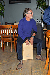 EDDIE JORDAN playing with the band at a quiz night hosted by Zoe Jordan to celebrate the launch of her men's ZJKNITLAB collection held at The Larrick Pub, 32 Crawford Place, London on 20th April 2016.