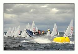 470 Class European Championships Largs - Day 3.Brighter conditions with more wind...Race Management, General Recall, RIB