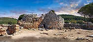 Pictures and image of the exterior ruins of Palmavera prehistoric central Nuraghe tower, archaeological site, middle Bronze age (1500 BC), Alghero, Sardinia. .<br /> <br /> If you prefer you can also buy from our ALAMY PHOTO LIBRARY  Collection visit : https://www.alamy.com/portfolio/paul-williams-funkystock/palmavera-nuraghe-sardinia.html<br /> Visit our PREHISTORIC PLACES PHOTO COLLECTIONS for more   photos  to download or buy as prints https://funkystock.photoshelter.com/gallery-collection/Prehistoric-Neolithic-Sites-Art-Artefacts-Pictures-Photos/C0000tfxw63zrUT4