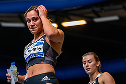 Naomi Sedney, second in the 60 meter sprint at the Dutch Indoor Championship. Nadine Visser takes the bronze at the Dutch Indoor Athletics Championship on February 22, 2020 in Omnisport De Voorwaarts, Apeldoorn