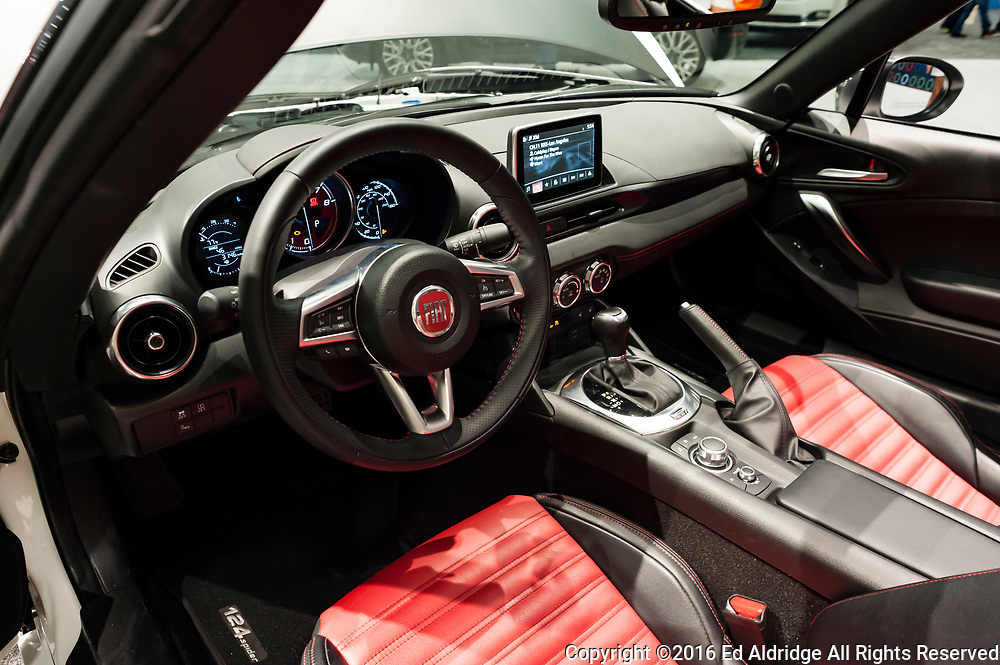 Miami, USA - September 10, 2016: Fiat 124 Spider Abarth on display during the Miami International Auto Show at the Miami Beach Convention Center.