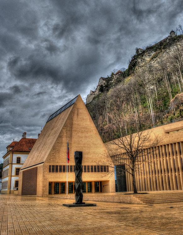 The new Landtag building  in Vaduz.