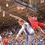 Louisville Cardinals' Malik Williams dunks over Duke Blue Devils' Jack White during an ACC men's college basketball game in Durham. Photographed for ESPN .©Travis Bell Photography
