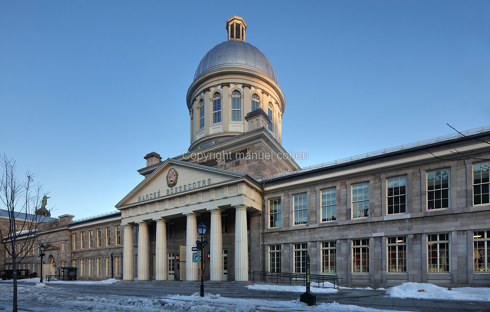 Marche Bonsecours, designed by William Footer and built 1844-47 in Palladian style, as the city's public market, on Rue Saint-Paul in the Old Town of Montreal, Quebec, Canada. The building was named after the adjacent Notre-Dame-de-Bon-Secours Chapel, and is now used as a mall and offices. Picture by Manuel Cohen