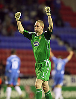 Photo: Paul Greenwood/Sportsbeat Images.<br />Wigan Athletic v Blackburn Rovers. The FA Barclays Premiership. 15/12/2007.<br />Wigan goal keeper Chris Kirkland celebrates victory at the final whistle