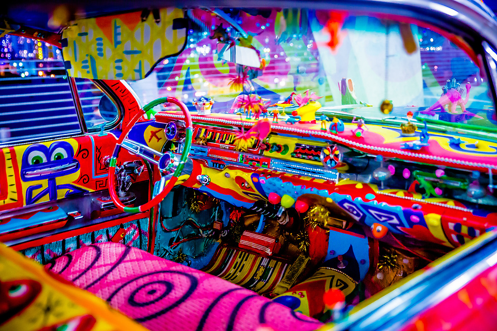 Interior of a 1961 Cadillac customized by pop-artist Kenny Scharf and on display ar Miami Art Week 2013