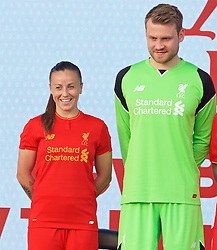 LIVERPOOL, ENGLAND - Monday, May 9, 2016: Liverpool's Natasha Harding and goalkeeper Simon Mignolet at the launch of the New Balance 2016/17 Liverpool FC kit at a live event in front of supporters at the Royal Liver Building on Liverpool's historic World Heritage waterfront. (Pic by David Rawcliffe/Propaganda)