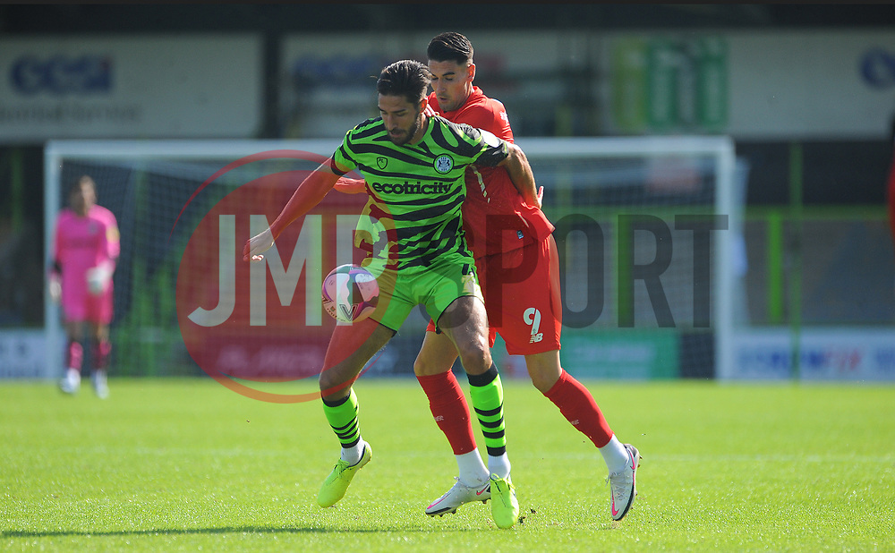 Dan Sweeney of Forest Green Rovers under pressure from Conor Wilkinson of Leyton Orient- Mandatory by-line: Nizaam Jones/JMP - 05/09/2020 - FOOTBALL - New Lawn Stadium - Nailsworth, England - Forest Green Rovers v Leyton Orient - Carabao Cup