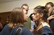 Sara Lucas and Tracey Emin. Matthew Collings book launch / Mat Collishaw<br />Selfridge's. 18 October 2001.  W1© Copyright Photograph by Dafydd Jones 66 Stockwell Park Rd. London SW9 0DA Tel 020 7733 0108 www.dafjones.com