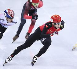 PYEONGCHANG, Feb. 22, 2018  Wu Dajing of China competes during men's 500m final of short track speed skating at the 2018 PyeongChang Winter Olympic Games at Gangneung Ice Arena, Gangneung, South Korea, Feb. 22, 2018. Wu Dajing claimed gold medal in a time of 0:39.584 and set new world record. (Credit Image: © Lan Hongguang/Xinhua via ZUMA Wire)