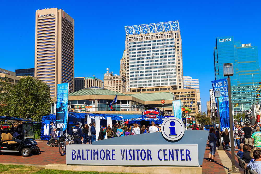 Baltimore, MD / US - October 15, 2016: The Visitor Sign sign in the city's Inner Harbor.