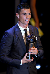 Cristiano Ronaldo with the award for FIFA Men's Player of the Year during the Best FIFA Football Awards 2017 at the Palladium Theatre, London.