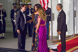January 19, 2016 - Washington, USA - WASHINGTON, D.C. — On Thursday, March 10, President Barack Obama and First Lady Michelle Obama greet Canada's Prime Minister and Mrs. Grégoire Trudeau arrivel for a State Dinner in the East Room of the White House. (Credit Image: © Cheriss May/NurPhoto via ZUMA Press)