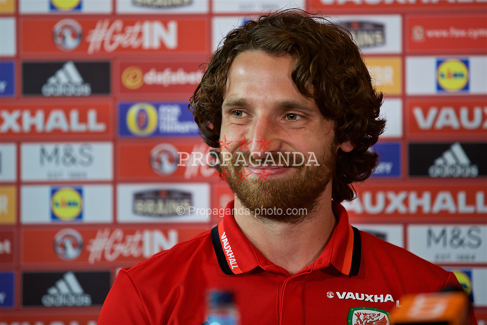 CARDIFF, WALES - Thursday, June 8, 2017: Wales' Joe Allen during a press conference at the Vale Resort ahead of the 2018 FIFA World Cup Qualifying Group D match against Serbia. (Pic by David Rawcliffe/Propaganda)