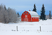 Red barn in winter<br />Meath Park<br />Saskatchewan<br />Canada