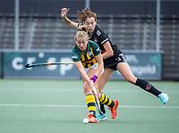 AMSTELVEEN - Fay van der Elst (Amsterdam) met  tijdens de competitie hoofdklasse hockeywedstrijd dames, Amsterdam-HDM (1-1).  COPYRIGHT KOEN SUYK