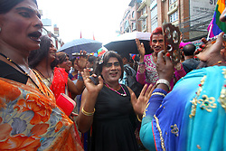 August 8, 2017 - Kathmandu, Nepal - Revelers take part in a LGBT (lesbian, gay, bisexual and transgender) pride parade on the day of Gaijatra festival in Kathmandu. Thousands participate in the parade in demand of equal rights in the society. (Credit Image: © Archana Shrestha/Pacific Press via ZUMA Wire)