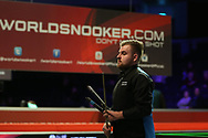 Jackson Page, the 16 year old amateur from South Wales walks off after losing his 2nd round match against Stuart Bingham of England.  ManBetx Welsh Open Snooker 2018, day three at the Motorpoint Arena in Cardiff, South Wales on Wednesday 28th February 2018.<br /> pic by Andrew Orchard, Andrew Orchard sports photography.