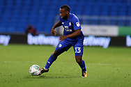 Junior Hoilett of Cardiff city in action.  Carabao Cup, 1st round match, Cardiff city v Portsmouth at the Cardiff city Stadium in Cardiff, South Wales on Tuesday August 8th 2017.<br /> pic by Andrew Orchard, Andrew Orchard sports photography.