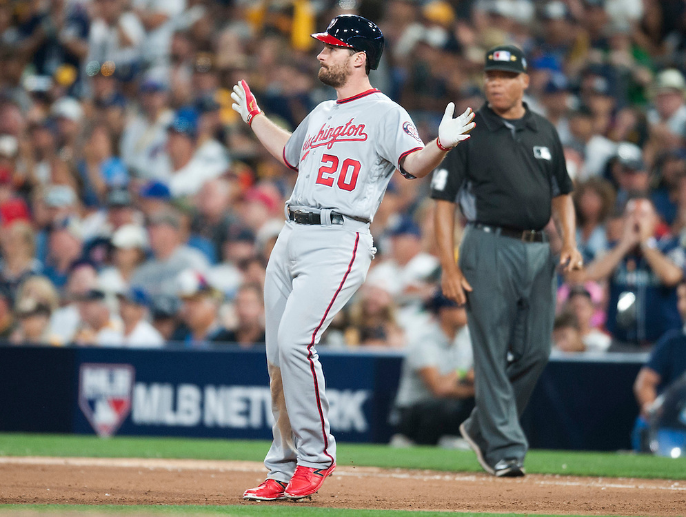 The Nationals' Daniel Murphy celebrates a single in the seventh inning, going 3-for-3, during the 2016 MLB All-Star Game at Petco Park in San Diego on Tuesday.<br /> <br /> ///ADDITIONAL INFO:   <br /> <br /> allstar.0713.kjs  ---  Photo by KEVIN SULLIVAN / Orange County Register  -- 7/12/16<br /> <br /> The 2016 MLB All-Star Game at Petco Park in San Diego.