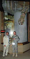 Jack Gruber with Alpha Company/11th Engineer Battalion SFC Brian Raines during unveil of exhibit at Fort Leonard Wood Army Engineer Museum of Objective Peach, Iraq, April 3, 2003
