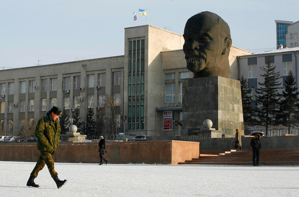 Photo by Heathcliff Omalley..Ulan Ude 21 November 2007.The City of Ulan Ude , east of Lake Baikal and just north of the Mongolian border, and home to the worlds largest Lenin head which is in the main square. The indigenous population which stands at about 30 percent are the Buryats, a mongol people, and Buddhist Datsan temples are beginning to sprout up around the city again.