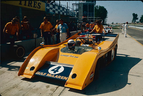 Peter Revson in his McLaren M20 at the 1972 Watkins Glen Can-Am, where Revson would finish 2nd to winner Denny Hulme; Photo by Pete Lyons 1972/ © 2014 Pete Lyons / petelyons.com