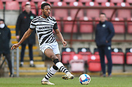 Forest Green Rovers Ebou Adams(8) passes the ball forward during the EFL Sky Bet League 2 match between Leyton Orient and Forest Green Rovers at the Breyer Group Stadium, London, England on 23 January 2021.