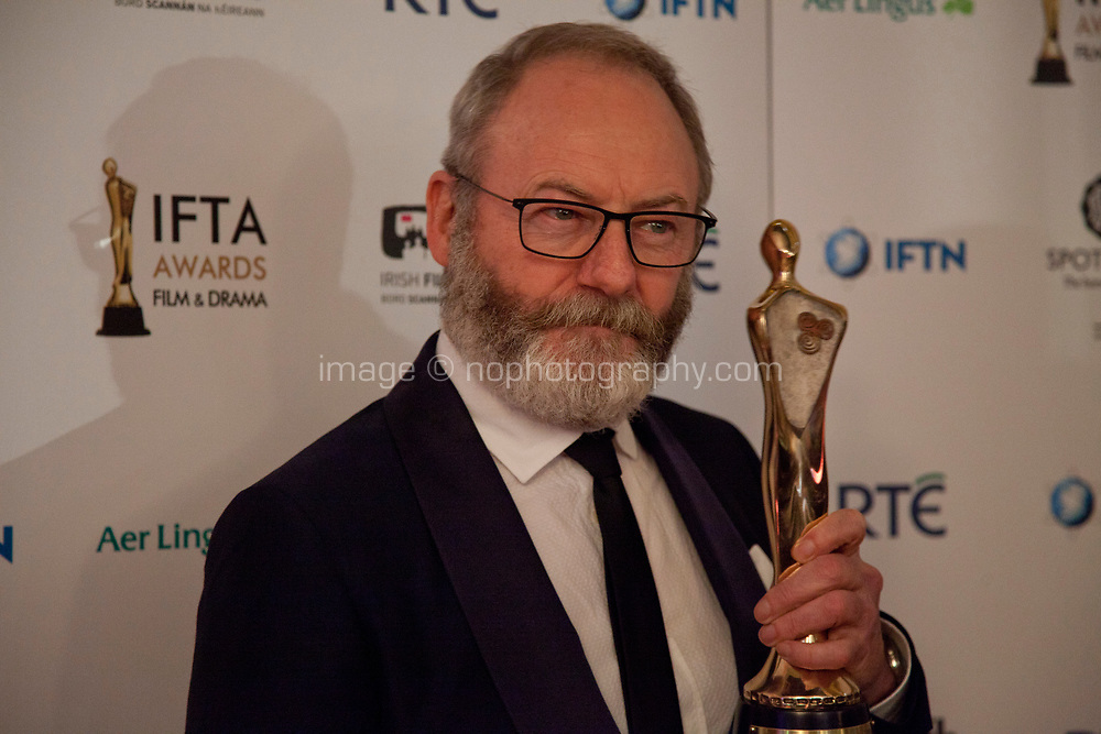 Liam Cunningham, awarded Best Supporting Actor for Game of Thrones at the IFTA Film & Drama Awards (The Irish Film & Television Academy) at the Mansion House in Dublin, Ireland, Thursday 15th February 2018. Photographer: Doreen Kennedy