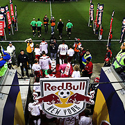 Thierry Henry leads the New York Red Bulls out during the New York Red Bulls Vs Toronto FC, Major League Soccer regular season match at Red Bull Arena, Harrison, New Jersey. USA. 11th October 2014. Photo Tim Clayton