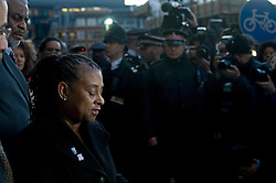 © Licensed to London News Pictures. 03/01/2012. London, UK.  Doreen Lawrence, Mother of murdered teenager Stephen Lawrence, speaking outside The Old Bailey in London on January 3rd, 2012, where a guilty verdict was returned. Gary Dobson and David Norris have been found guilty of the murder of Stephen Lawrence who was stabbed to death 18 years ago.Photo credit : LNP