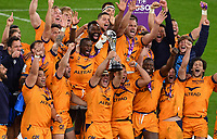 Rugby Union - 2020 / 2021 European Rugby Challenge Cup - Final - Leicester Tigers vs Montpellier - Twickenham<br /> <br /> Montpellier's Guilhem Guirado raises the trophy.<br /> <br /> COLORSPORT/ASHLEY WESTERN