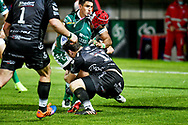 Hame Faiva (Benetton Treviso) tackled by Adam Warren (Dragons) during the Guinness Pro 14 rugby union match between Benetton Treviso and Dragons Rugby on November 29, 2020 at the Monigo stadium in Treviso, Italy - Photo Ettore Griffoni / LM / ProSportsImages / DPPI