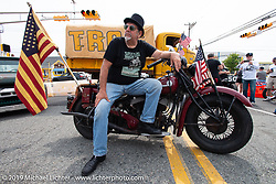 Master of Ceremonies Joe Oz with his 1945 Indian Chief (one time NYC police bike!) on setup day for TROG (The Race Of Gentlemen) in Wildwood, NJ. USA. Friday June 8, 2018. Photography ©2018 Michael Lichter.