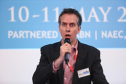 © Licensed to London News Pictures. 11/05/2016. Stoneleigh, UK. Dimitri Houtart, BBC Rural affairs champion and Radio 4 rural affairs & environment editor, at a debate about the upcoming EU referendum during the 2016 Pig and Poultry Fair at Stoneleigh, Warwickshire, UK. A recent survey carried out by Farmers Weekly magazine revealed that 58 percent of farmers are in favour whereas only 31 percent said they wanted to remain. The debate was put on by the BBC Radio Four's Farming Today programme and will be broadcast later this month. Photo credit : Ian Hinchliffe/LNP