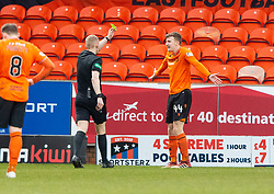 Ref Mike Roncone books Dundee United's Paul Watson after Partick Thistle's penalty. Dundee United 1 v 1 Partick Thistle, Scottish Championship game played 7/3/2020 at Dundee United's stadium Tannadice Park.