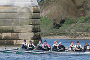 Mortlake/Chiswick, GREATER LONDON. United Kingdom. Exeter Rowing Club, W.MasA.8+, competing in the 2017 Vesta Veterans Head of the River Race, The Championship Course, Putney to Mortlake on the River Thames.<br /> <br /> <br /> Sunday  26/03/2017<br /> <br /> [Mandatory Credit; Peter SPURRIER/Intersport Images]