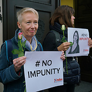 Index and other human rights organisations protest on International Day to End Impunity for Crimes. Against Journalists. Caruana Galizia she was murder for investigation of parama outside Malta house on 2nd November 2017