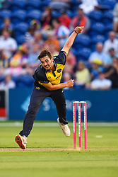 Lukas Carey of Glamorgan in action<br /> <br /> Photographer Craig Thomas/Replay Images<br /> <br /> Vitality Blast T20 - Round 4 - Glamorgan v Middlesex - Friday 26th July 2019 - Sophia Gardens - Cardiff<br /> <br /> World Copyright © Replay Images . All rights reserved. info@replayimages.co.uk - http://replayimages.co.uk