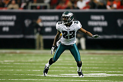 Philadelphia Eagles cornerback Asante Samuel #22 during the NFL game between the Philadelphia Eagles and the Atlanta Falcons on December 6th 2009. The Eagles won 34-7 at The Georgia Dome in Atlanta, Georgia. (Photo By Brian Garfinkel)
