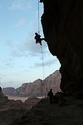 Silhouette of a group Rappeling, Wadi Rum, Jordan