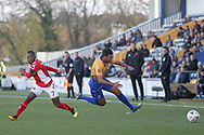 Malvind Benning of Mansfield Town (3) is sent flying by Mark Marshall of Charlton Athletic (7) during the The FA Cup match between Mansfield Town and Charlton Athletic at the One Call Stadium, Mansfield, England on 11 November 2018.