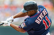 Ben Revere (11) of the Minnesota Twins bats during a game against the Detroit Tigers on August 15, 2012 at Target Field in Minneapolis, Minnesota.  The Tigers defeated the Twins 5 to 1.  Photo: Ben Krause