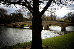 The stone footbridge spanning the River Soar, Abbey Park, Leicester, England, UK.