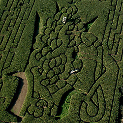 Aerial view of farm maze in Amish Country of