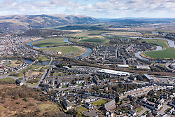 Aerial view of city of  Stirling in Scotland, UK